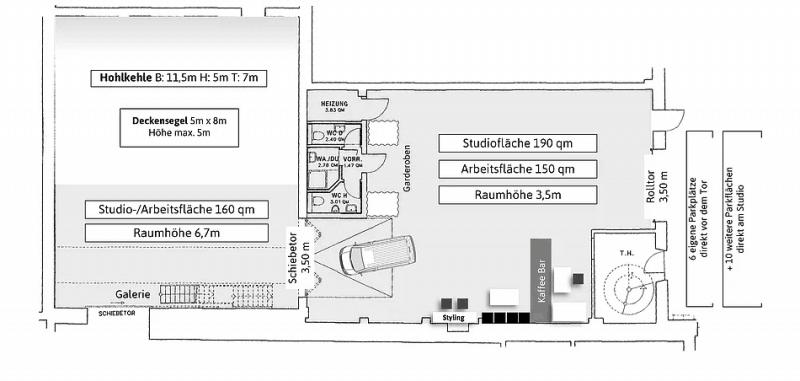 Grundriss von Tor 21 Großes Fotostudio mit 320qm